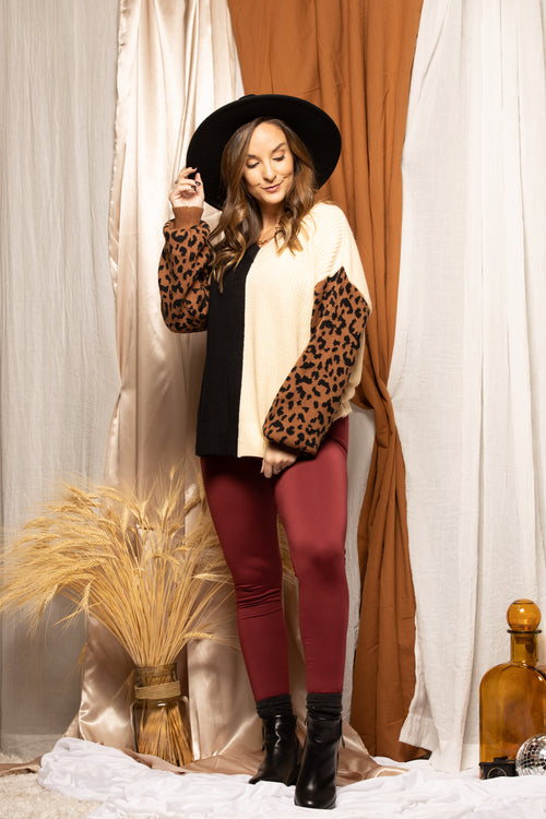 In Your Dreams Colorblock Leopard Sweater