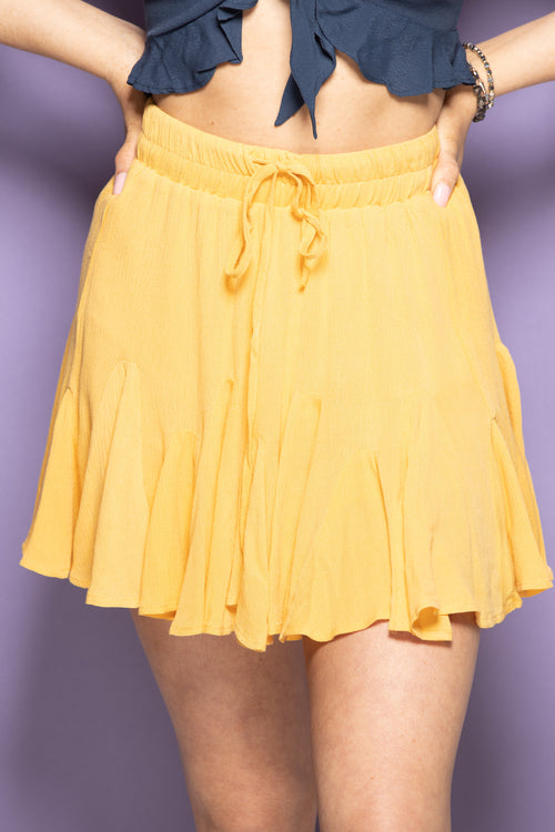 Come With Me Ruffle Skirt: Mustard - impromptu boutique