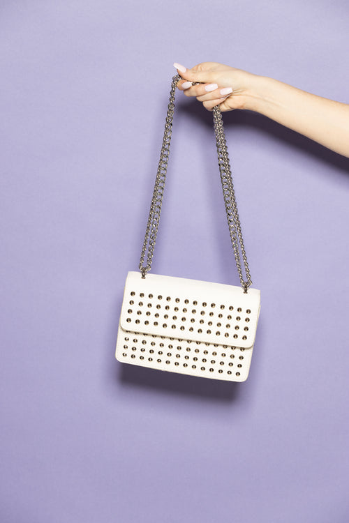 Defining You White Studded Purse