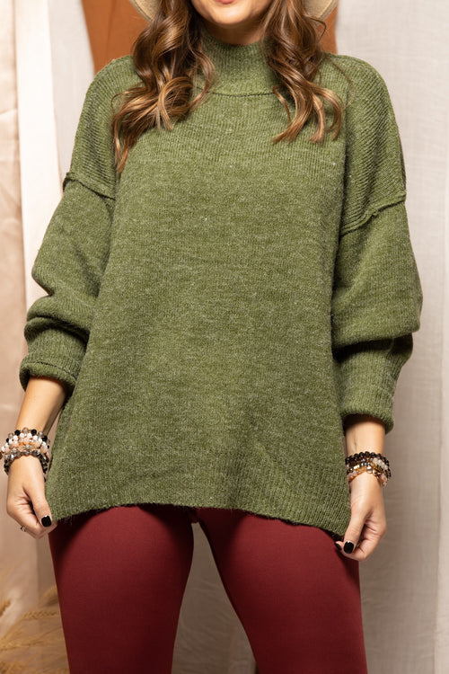 Come On Over Turtleneck Sweater: Hunter Green