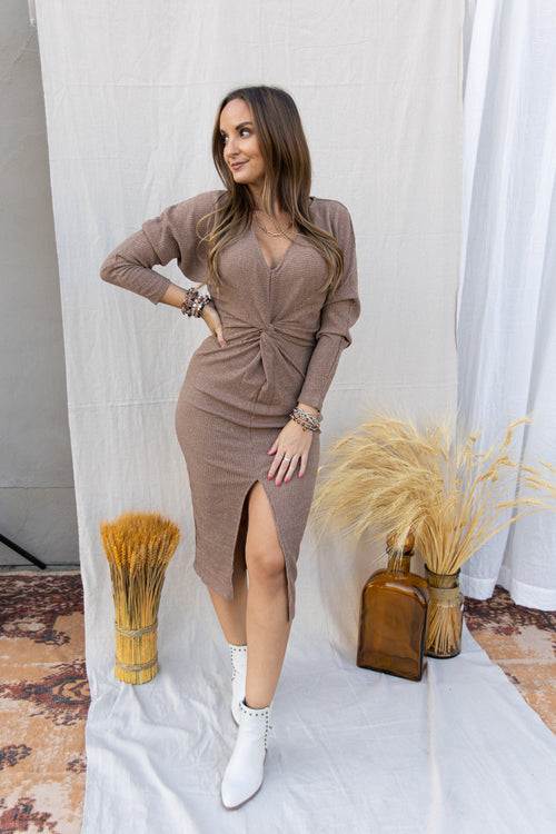Need You Now Beige Sweater Dress