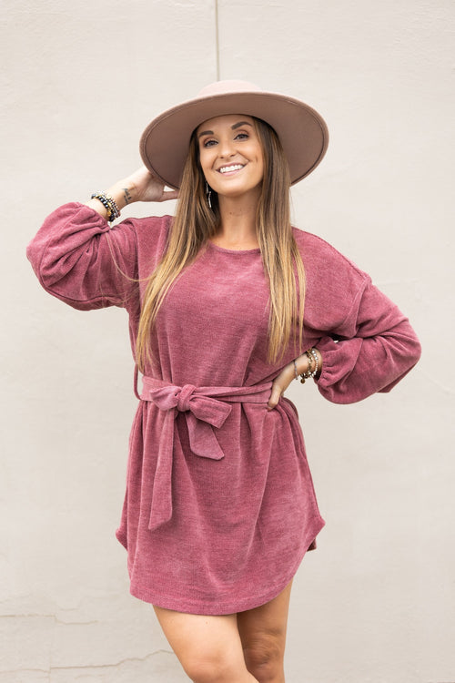 Sweet And Simple Mauve Chenille Sweater Dress