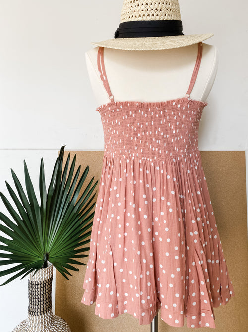On The Rise Pink Polka Dot Romper