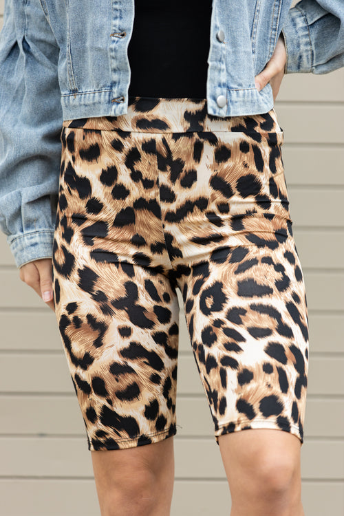 Together Again Leopard Biker Shorts