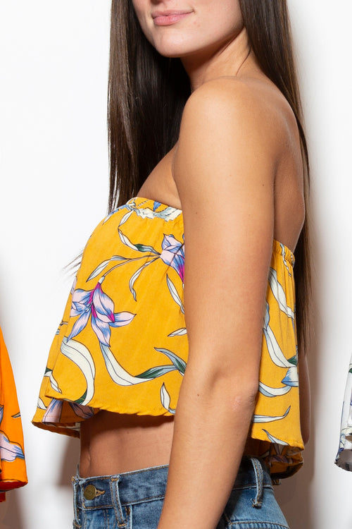 What I Want Mustard Floral Crop Top
