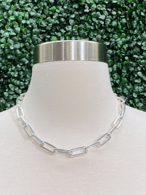 Silver Chain Link Adjustable Necklace *CL331-S*