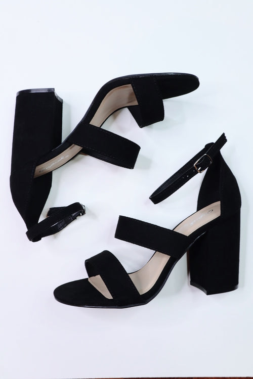 Brooke Black Suede Heels