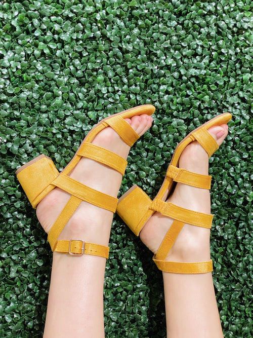 Isabella Yellow High Heel Sandals