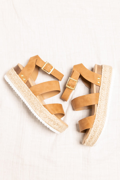 Madison Platform Sandals: Tan - impromptu boutique