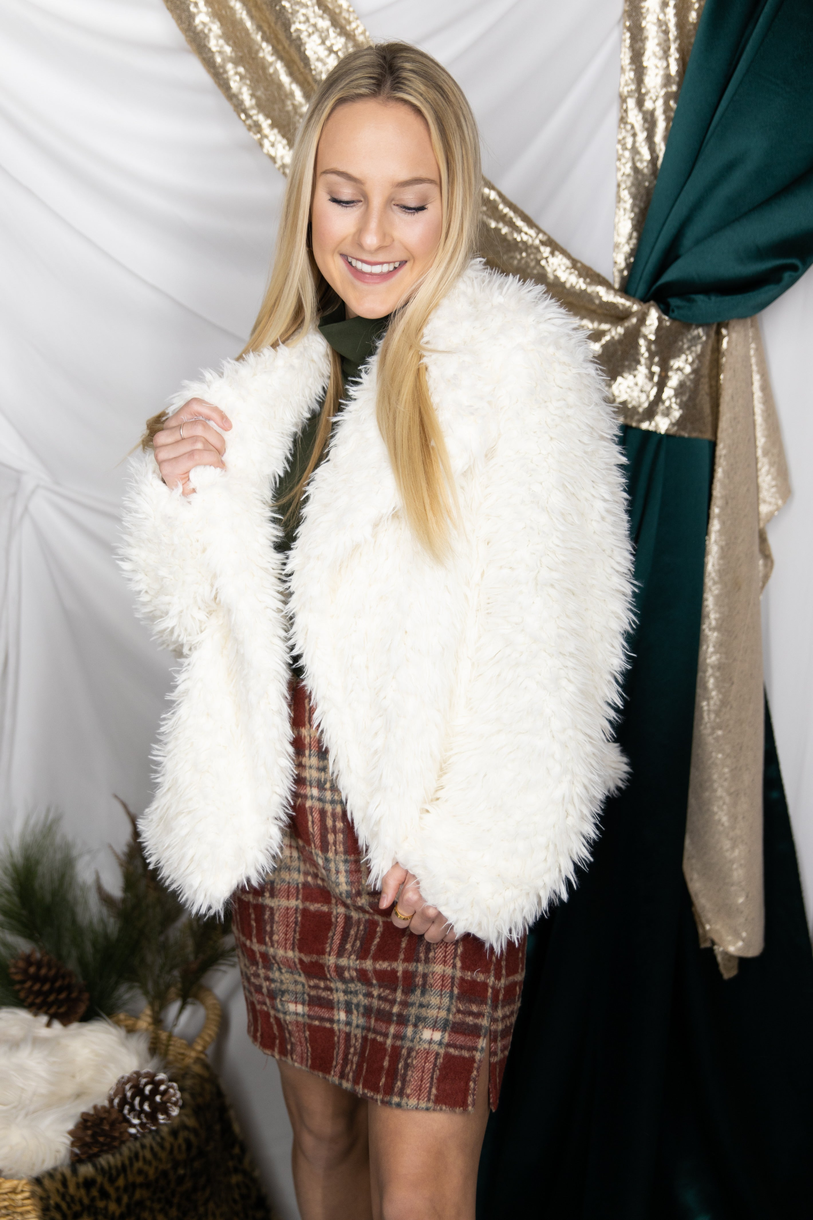 Silent Night Ivory Faux Fur Jacket