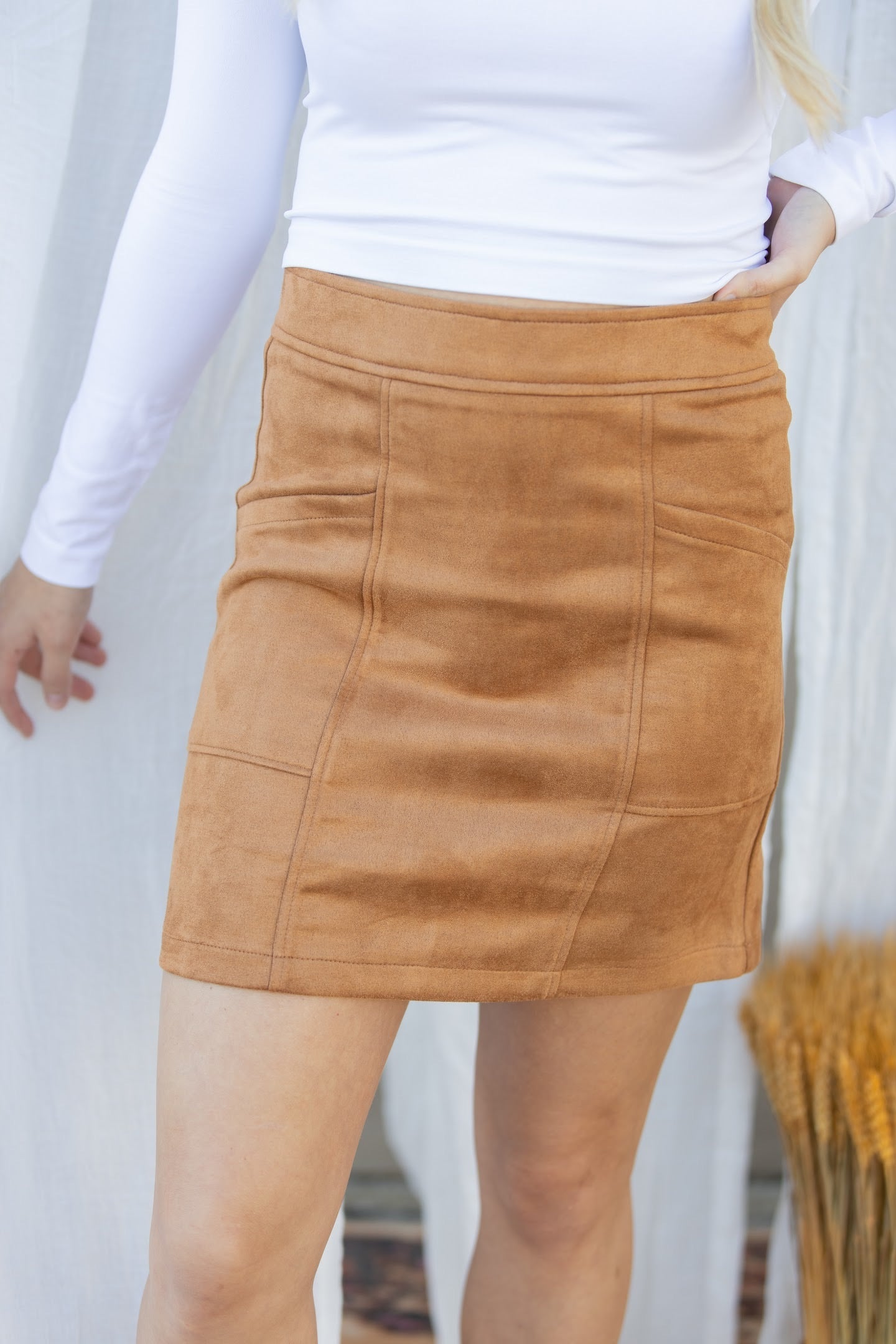 Days Go By Suede Tan Skirt