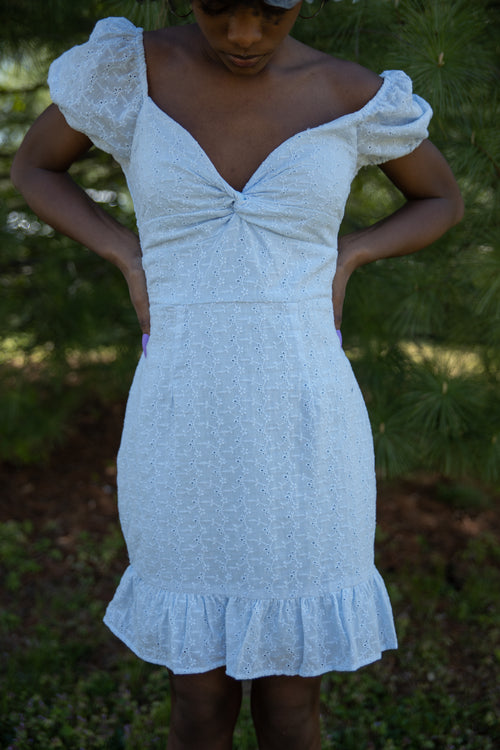 Dressed Like A Daydream Baby Blue Eyelet Dress