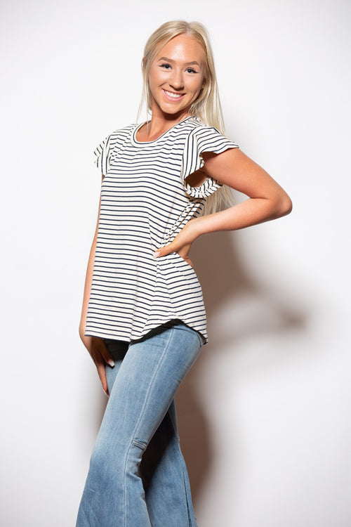 Feeling Good Stripe Ivory Top - impromptu boutique