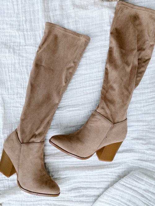 Hunter Beige Knee High Boots