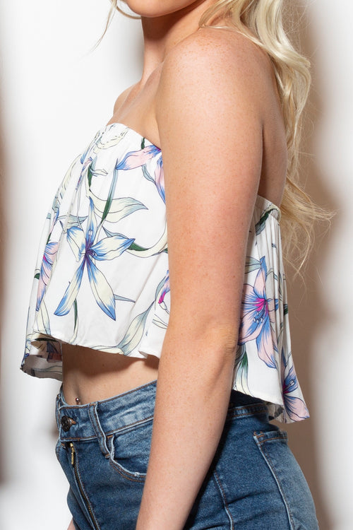 What I Want White Floral Crop Top
