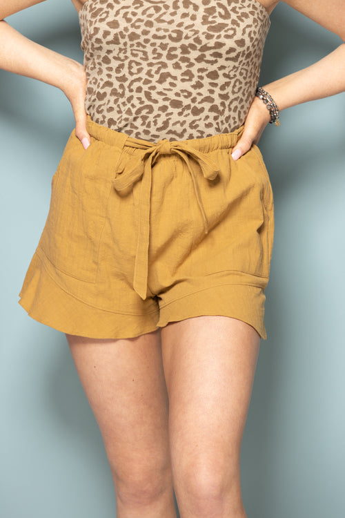 Simple Things Drawstring Linen Shorts: Mustard - impromptu boutique
