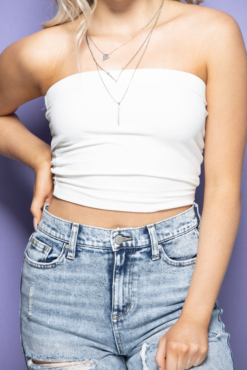 Make It Easy Tube Top: White - impromptu boutique