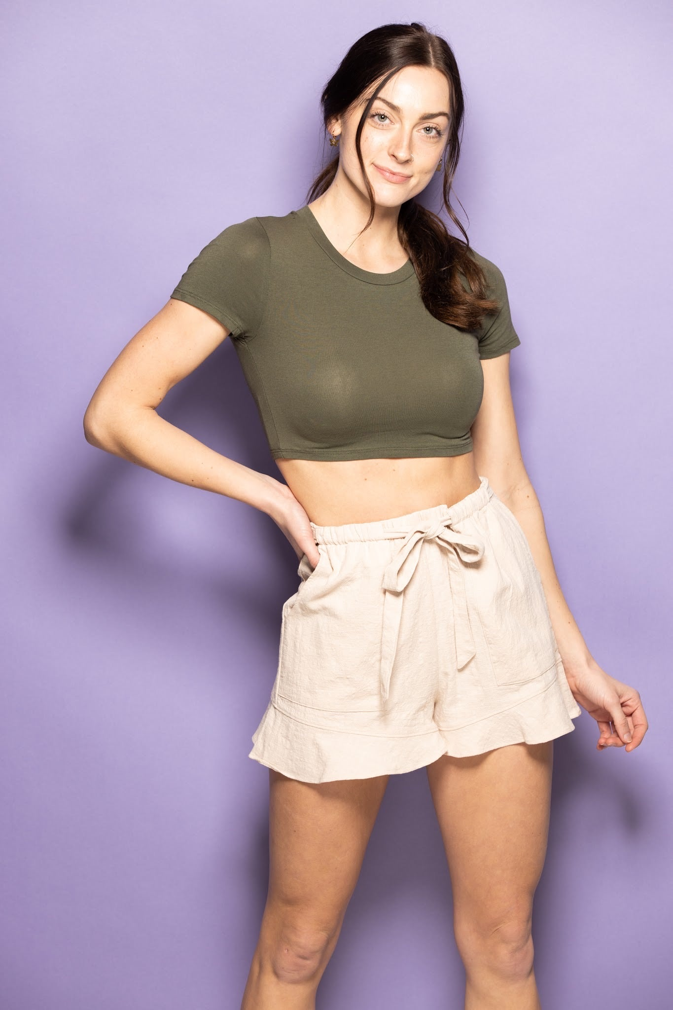 Swing My Way Super Crop Tee: Olive - impromptu boutique