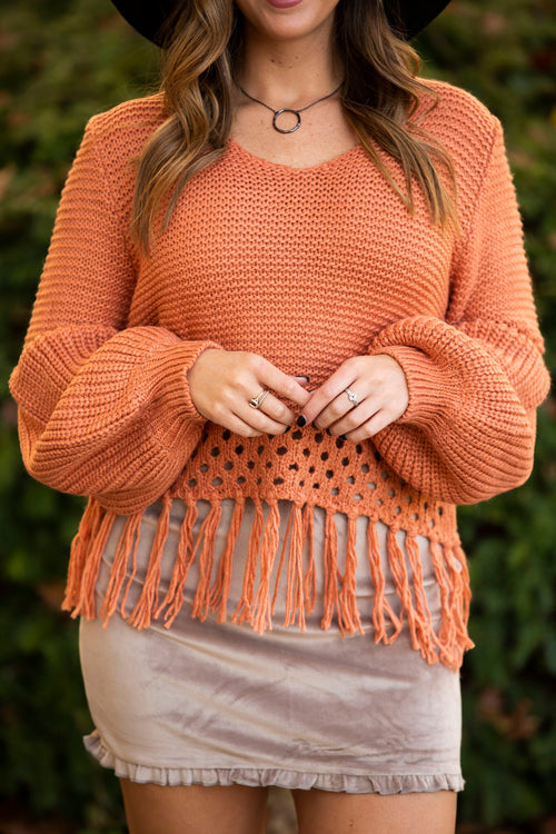 Come Back Home Burnt Orange Balloon Sleeve Sweater
