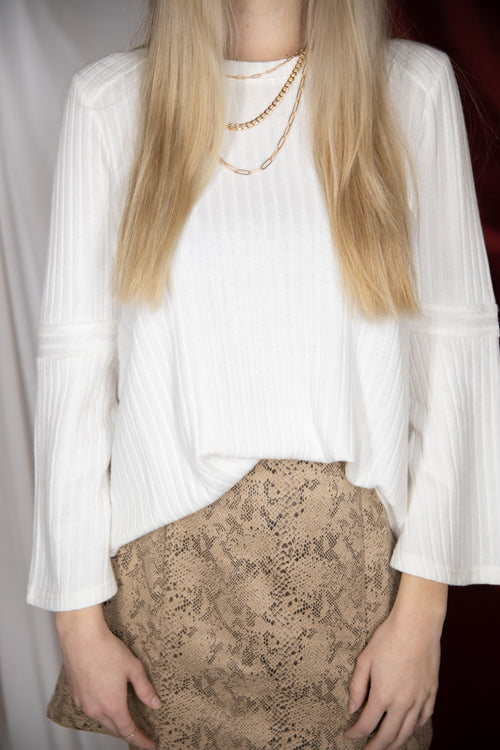 Come Together Ivory Bell Sleeve Ribbed Sweater