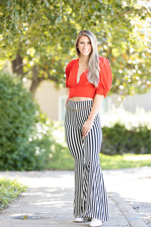 On Your Side Black & White Stripe Flares