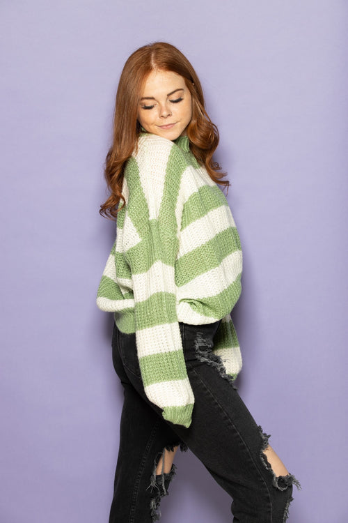 Love We Share Stripe Sweater: Green - impromptu boutique