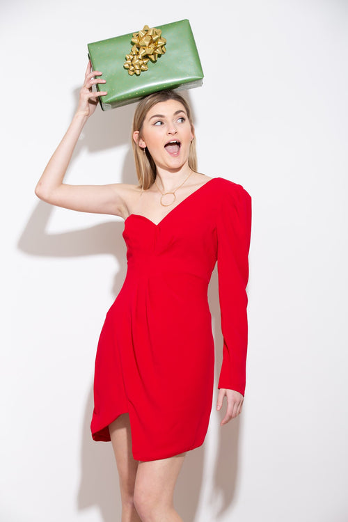Up In Flames One Shoulder Red Dress