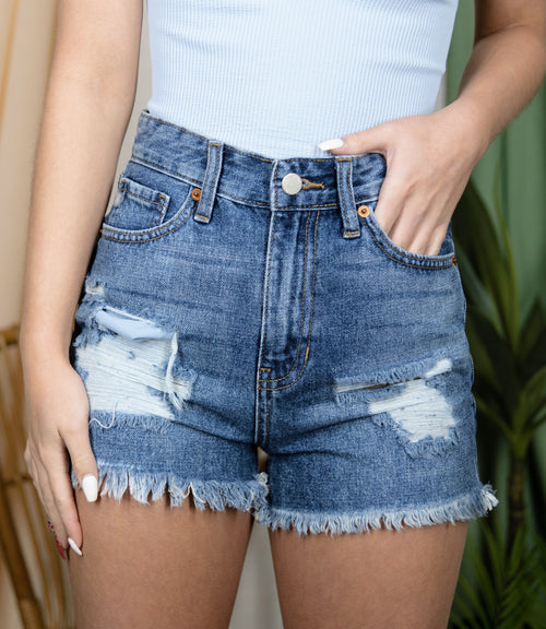 Go Your Own Way Distressed Denim Shorts