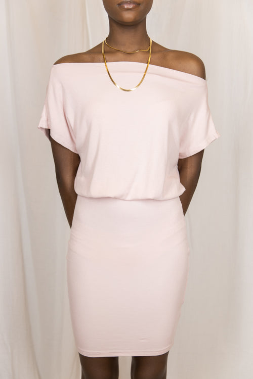 Hold On Tight Blush Off-The-Shoulder Dress