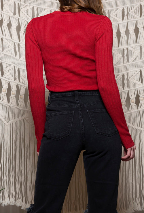 Past and Present Red Sweater Top - impromptu boutique