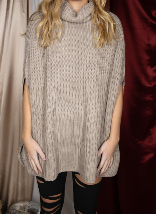 Feeling Loved Taupe Cape Sweater