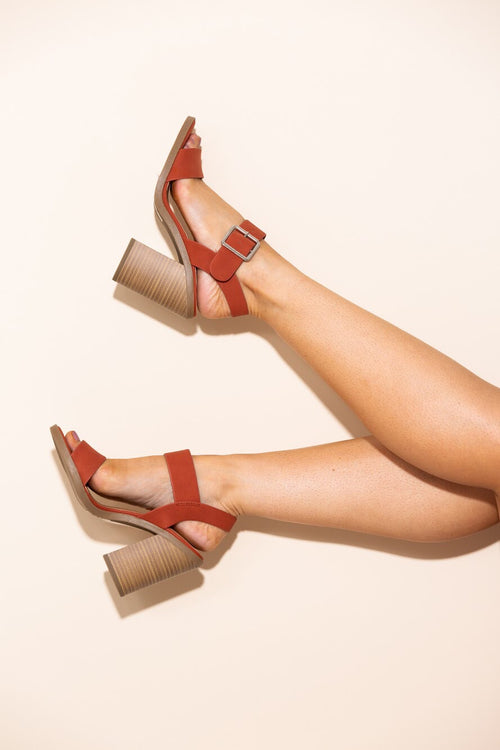 Kara Burnt Orange Block Heels - impromptu boutique