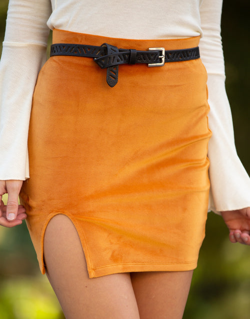Remember Me Velvet Pumpkin Skirt - impromptu boutique