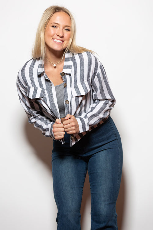 Not Over Black Stripe Linen Jacket