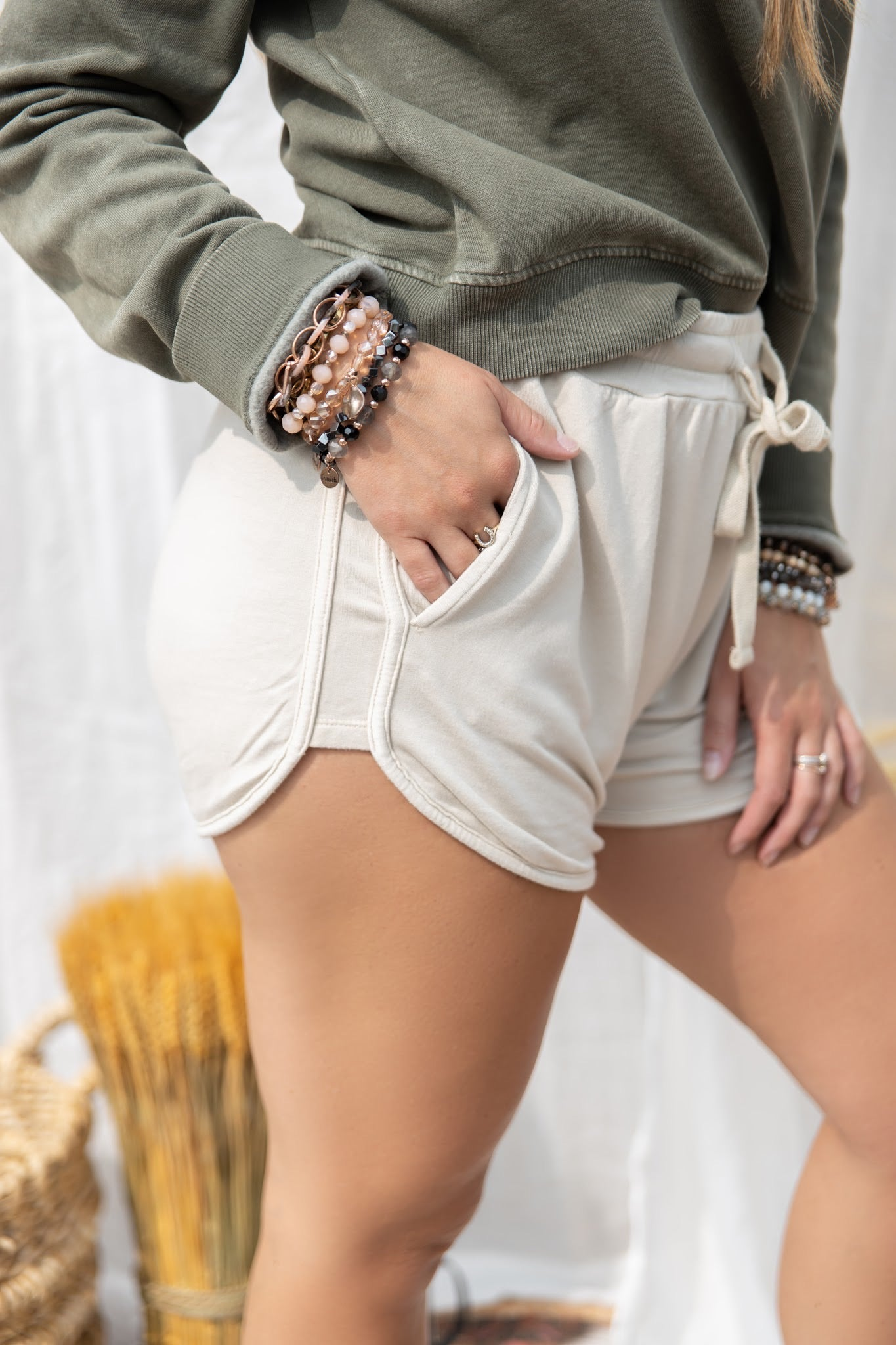 What You See Casual Beige Shorts