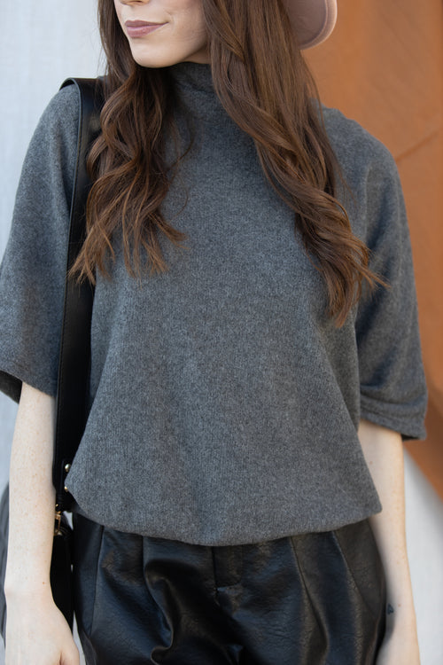 Always Be There Short Sleeve Sweater In Charcoal