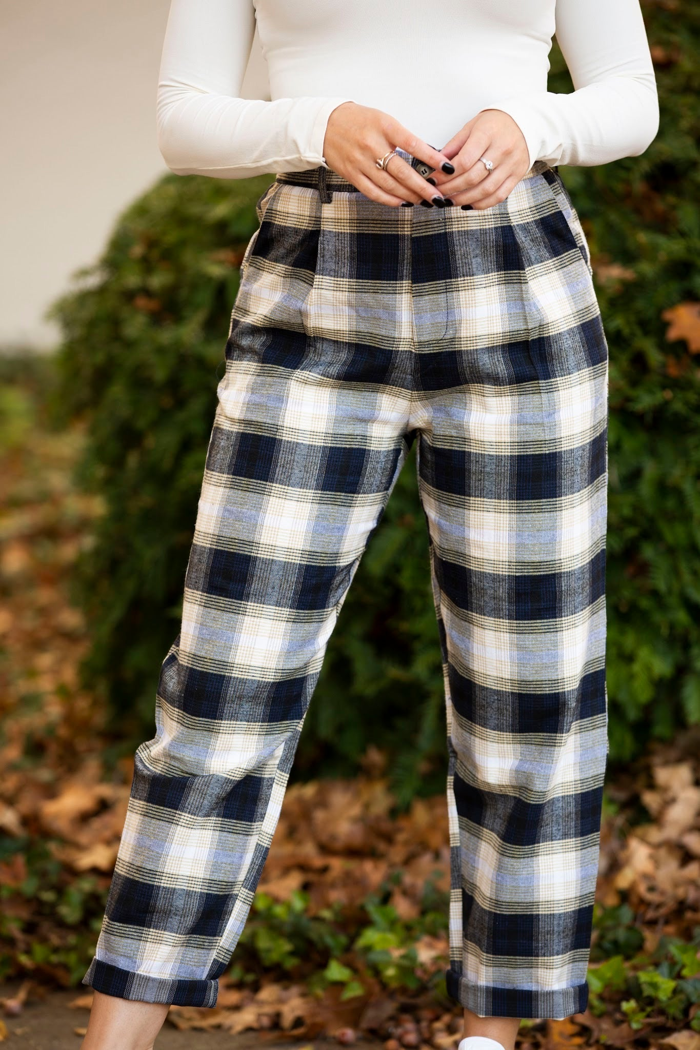 Meet You There Navy Plaid Pants