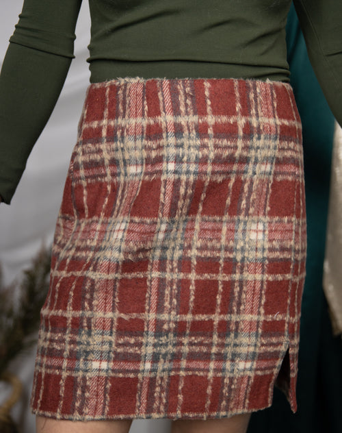 All For It Red Plaid Wool Skirt