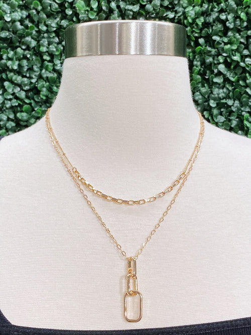 Layered Gold Chain Link Necklace *LCN452-G*