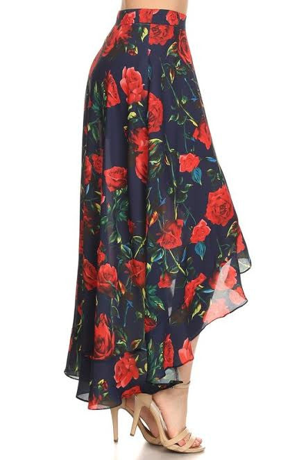 With The Wind Rose Maxi Skirt