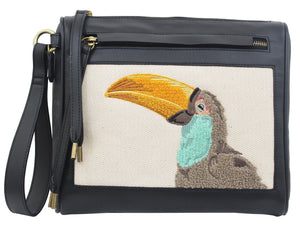 Palm Highway Clutch in Natural Toucan