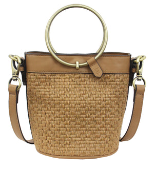 Palm Highway Woven Crossbody in Almond