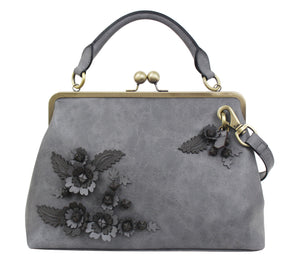Scattered Blooms Frame Satchel in Slate