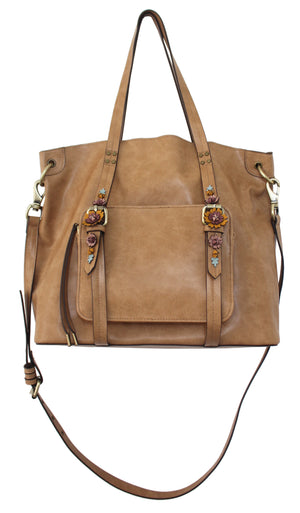 Scattered Blooms Tote in Almond