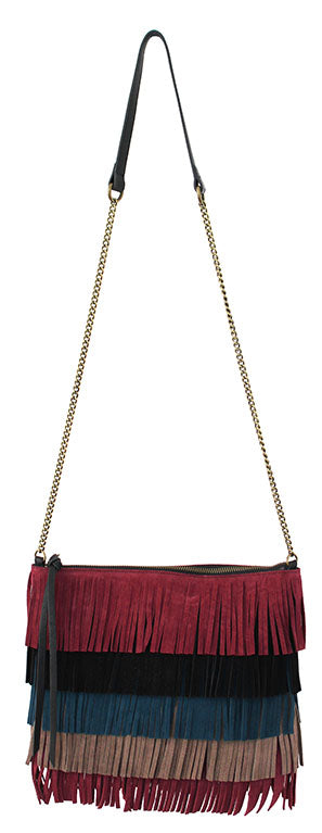 Tulum Fringe Crossbody in Black & Wine