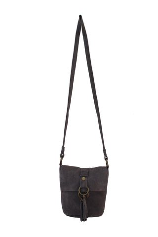 WILDLEDER CROSSBODY IN PEBBLE