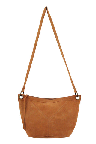 WILDLEDER EAST TO WEST CROSSBODY IN COGNAC