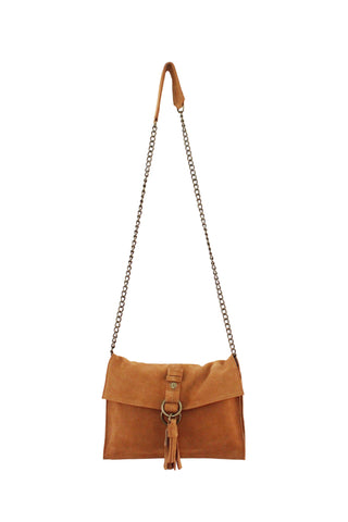 Wildleder Convertible Clutch in Cognac