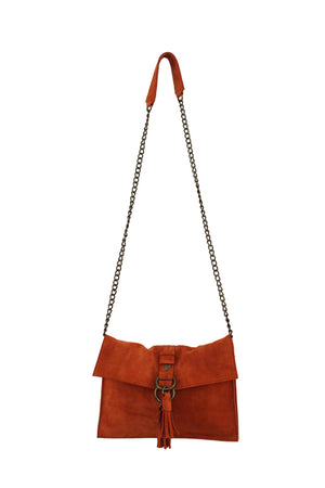 Wildleder Convertible Clutch in Persimmon
