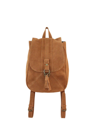 Wildleder Backpack in Cognac